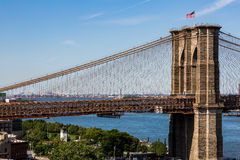 NEW YORK - AUGUST 22. Views of the Brooklyn Bridge on a summer day on August 22, 2015. Its a famous and iconic bridge in New York, which passes the east river Stock Photos