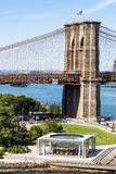 NEW YORK - AUGUST 22. Views of the Brooklyn Bridge on a summer day on August 22, 2015. Its a famous and iconic bridge in New York, which passes the east river Stock Images
