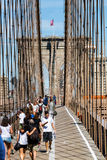 NEW YORK - AUGUST 22. Views of the Brooklyn Bridge on a summer day on August 22, 2015. Its a famous and iconic bridge in New York, which passes the east river Stock Photography