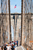 NEW YORK - AUGUST 22. Views of the Brooklyn Bridge on a summer day on August 22, 2015. Its a famous and iconic bridge in New York, which passes the east river Royalty Free Stock Image
