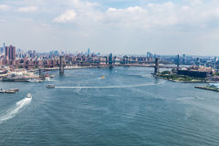 NEW YORK - AUGUST 24, 2015. NEW YORK - AUGUST 24: Views of the Brooklyn Bridge on a summer day on August 22, 2015. Its a famous and iconic bridge in New York Stock Photography