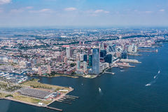 NEW YORK - AUGUST 24, 2015. NEW YORK - AUGUST 24: Views of Midtown Manhattan from a helicopter in New York on August 24, 2015. Helicopter tours are popular by Royalty Free Stock Photography