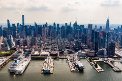 NEW YORK - AUGUST 24, 2015. NEW YORK - AUGUST 24: Views of Midtown Manhattan from a helicopter in New York on August 24, 2015. Helicopter tours are popular by Stock Photo