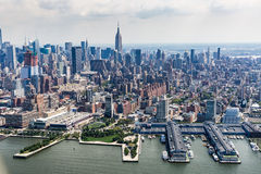 NEW YORK - AUGUST 24, 2015. NEW YORK - AUGUST 24: Views of Midtown Manhattan from a helicopter in New York on August 24, 2015. Helicopter tours are popular by Stock Image