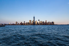 NEW YORK - AUGUST 24, 2015. NEW YORK - AUGUST 24: Views of Midtown Manhattan from the J. Owen Grundy Park on New Jersey side on August 24, 2015. This park royalty free stock images