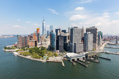 NEW YORK - AUGUST 24, 2015. NEW YORK - AUGUST 24: Views of Midtown Manhattan from Liberty Island side on August 24, 2015. This park provides a beautiful view to Royalty Free Stock Image