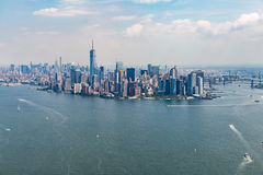 NEW YORK - AUGUST 24, 2015. NEW YORK - AUGUST 24: Views of Midtown Manhattan from Liberty Island side on August 24, 2015. This park provides a beautiful view to Stock Image