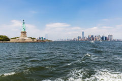 NEW YORK - AUGUST 24, 2015. NEW YORK - AUGUST 24: Views of Midtown Manhattan from Liberty Island side on August 24, 2015. This park provides a beautiful view to Stock Photography
