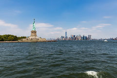 NEW YORK - AUGUST 24, 2015. NEW YORK - AUGUST 24: Views of Midtown Manhattan from Liberty Island side on August 24, 2015. This park provides a beautiful view to Stock Photo