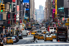 NEW YORK - AUGUST 22. Views of the rush streets of Manhattan at 7th Avenue on August 22, 2015. Its on the intersection of W53 Street near the Times Square Royalty Free Stock Photography