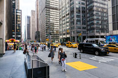 NEW YORK - AUGUST 22. Views of the rush streets of Manhattan at 7th Avenue on August 22, 2015. Its on the intersection of W53 Street near the Times Square Royalty Free Stock Image