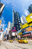 NEW YORK - AUGUST 22. Views of the rush streets of Manhattan at Times Square on August 22, 2015. Times Square is a busy place in the Midtown district of Royalty Free Stock Photos