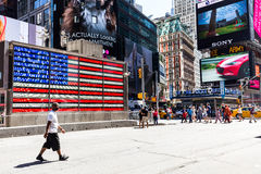 NEW YORK - AUGUST 22. Views of the rush streets of Manhattan at Times Square on August 22, 2015. Times Square is a busy place in the Midtown district of Stock Image