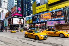 NEW YORK - AUGUST 22. Views of the rush streets of Manhattan at Times Square on August 22, 2015. Times Square is a busy place in the Midtown district of Royalty Free Stock Images