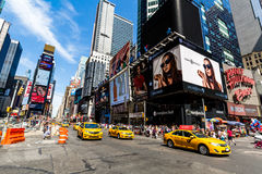 NEW YORK - AUGUST 22. Views of the rush streets of Manhattan at Times Square on August 22, 2015. Times Square is a busy place in the Midtown district of Stock Photo