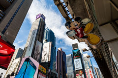 NEW YORK - AUGUST 22. Views of the rush streets of Manhattan at Times Square on August 22, 2015. Times Square is a busy place in the Midtown district of Stock Images