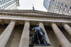 NEW YORK - AUGUST 24, 2015. NEW YORK - AUGUST 24: Views of to the Wall Street and Buildings in the financial district in Manhattan Downtown, New York on August Stock Photo