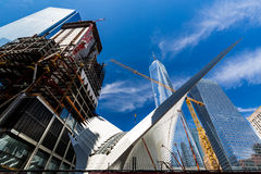 NEW YORK - AUGUST 22. Views to the World Trade Center and Ground Zero construction site in New York on August 22, 2015. Previous World Trade Center was Royalty Free Stock Photography