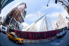 NEW YORK - AUGUST 22. Views to the World Trade Center and Ground Zero construction site in New York on August 22, 2015. Previous World Trade Center was Stock Photo