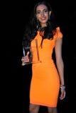 NEW YORK - AUGUSTI 08: Vinnare av den Montano för Top Model Latina Verà ³nica överst modellen 2014 Latina 2014 Arkivfoto