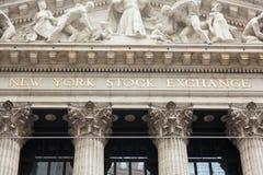 New York börsbyggnad i Manhattan - USA - enig sta Arkivbilder