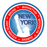 New York badge. An illustrated badge symbolizing the city of New York Stock Photos
