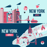 New York banner. Manhattan USA skyline silhouette cartoon design vector illustration. New York banner. Manhattan USA skyline silhouette cartoon design vector stock illustration