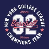 New York, Baseball typography for number t-shirt. Original sportswear print. Athletic apparel typography. Vector illustration. New York, Baseball typography for Royalty Free Stock Images