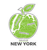 New York big apple t-shirt graphic design with city map. Tee shirt print, typography, label, badge, emblem. Royalty Free Stock Images