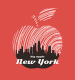 New York big apple t-shirt graphic design with city skyline. Stock Photography