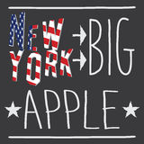 New York Big apple typography poster, t-shirt Printing design, vector Badge Applique Label.  Stock Images