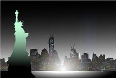 New York bij Nacht Vector Illustratie