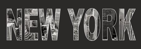 New York binnen tekst op zwarte achtergrond Stock Foto