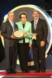 New York borgmästare Michael Bloomberg, Billie Jean King och USTA-ordförande, vd och president Dave Haggerty under den US Openöpp Royaltyfri Foto