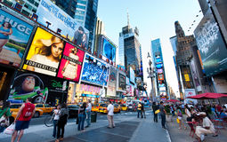 New York , Broadway. New York city , taxi cabs and people on Broadway Royalty Free Stock Photo