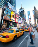 New York , Broadway. New York city , taxi cabs and people on Broadway Royalty Free Stock Image