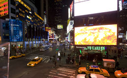 New York Broadway alla notte Fotografia Stock