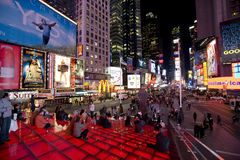 New York Broadway alla notte Immagine Stock