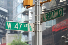 New York Broadway et quarante-septième rue Photos libres de droits