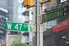 New York Broadway und 47. Straße Lizenzfreie Stockfotos