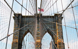 New york brooklyn bridge. With star spangled banner Royalty Free Stock Image