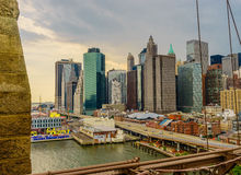 New York from Brooklyn Bridge  Royalty Free Stock Photos