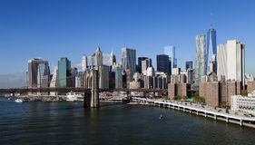 New York Brooklyn Bridge and Downtown Stock Image