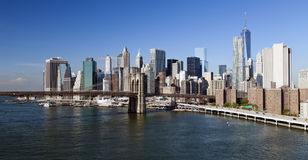 New York Brooklyn Bridge and Downtown Royalty Free Stock Photo