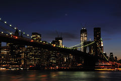 New York - Brooklyn Bridge and Lower Manhattan Royalty Free Stock Images