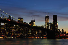 New York - Brooklyn Bridge and Lower Manhattan Stock Photo