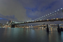 New York - Brooklyn Bridge and Lower Manhattan Stock Photos