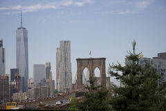 New-York - Brooklyn bridge with manhattan background Royalty Free Stock Photo