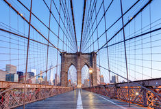 New York, Brooklyn bridge at nigth, USA Stock Image