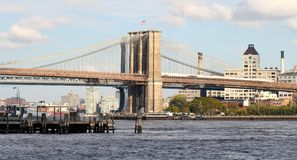 New York Brooklyn Bridge. This photo was taken in October, 2012 in New York City. The angle was taken from the Wall Street Heliport near sunset Royalty Free Stock Photos